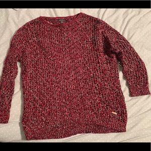 Eddie Bauer slouchy sweater red/black textured
